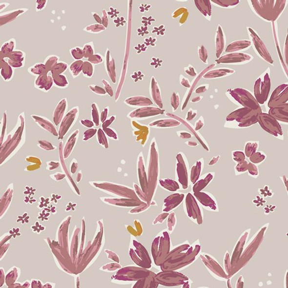 Purple floral cotton fabrics design