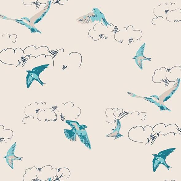 Blue bird floral Summers Dance fabrics design