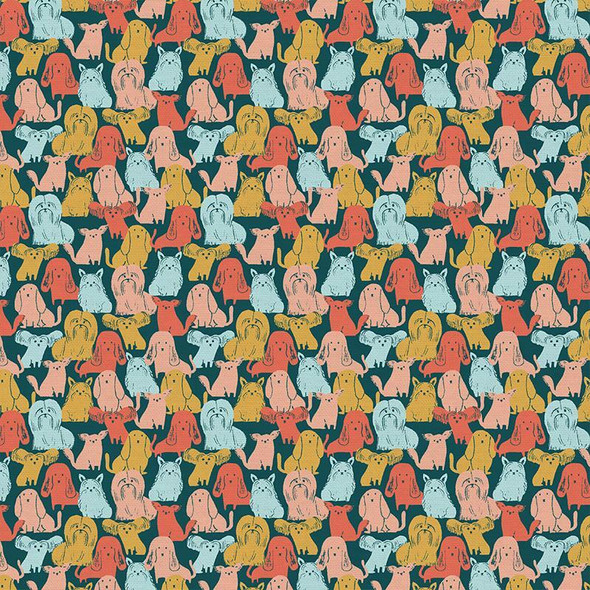 Dog Breeds Multicolored fabrics design