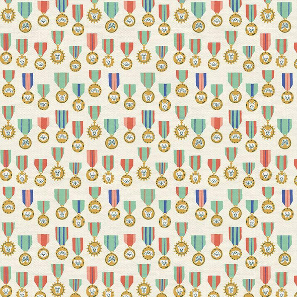 Dog Medals cream fabrics design