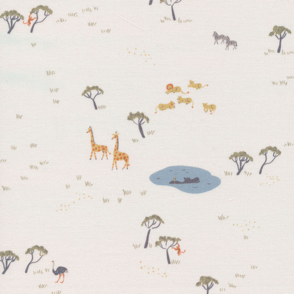 White jungle animals fabric, Cloud 9 Fabrics Precious Kingdom fabric, QTR YD