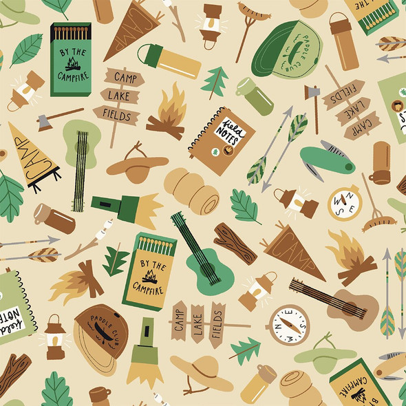 Tan Camping Gear fabrics design