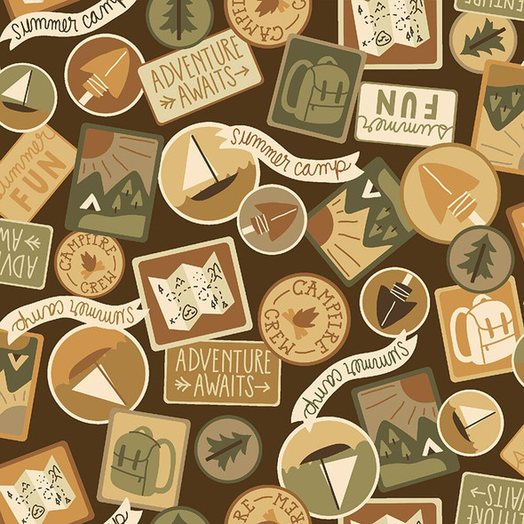Camping Patches Brown fabrics design