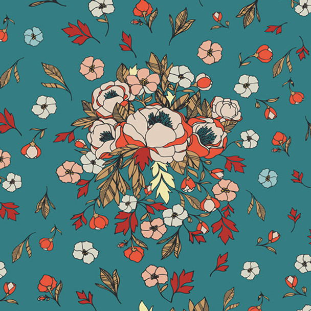Love Story blue floral, Soulmate Blooms Lust, AGF cotton fabric, QTR YD