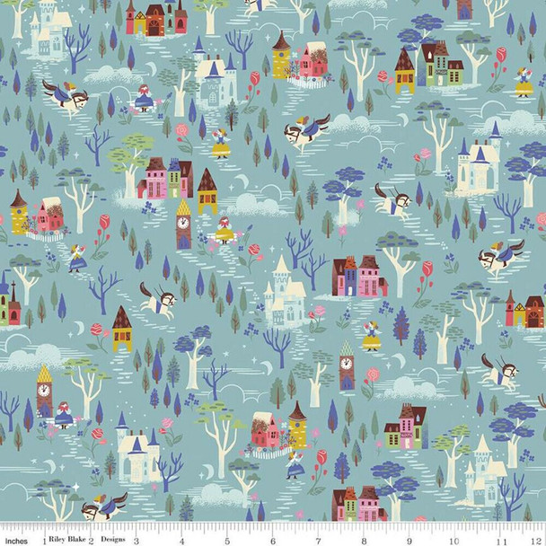 Beauty and the Beast Blue Countryside Fabrics design