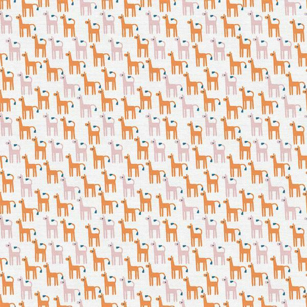 Orange Alpaca kids cotton fabrics design