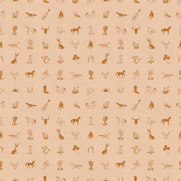Peach Western Icon fabrics design