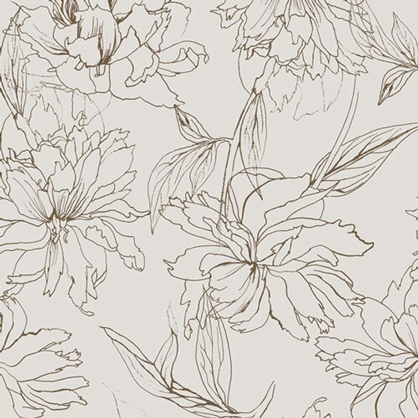 Modern gold floral Fair Peonies Traced Decadence fabrics design