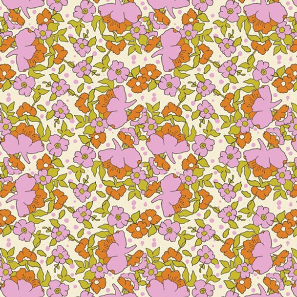 Pink orange green floral fabrics design