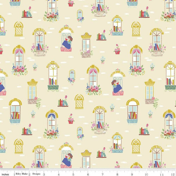 Beauty and the Beast Windows cream cotton fabrics design