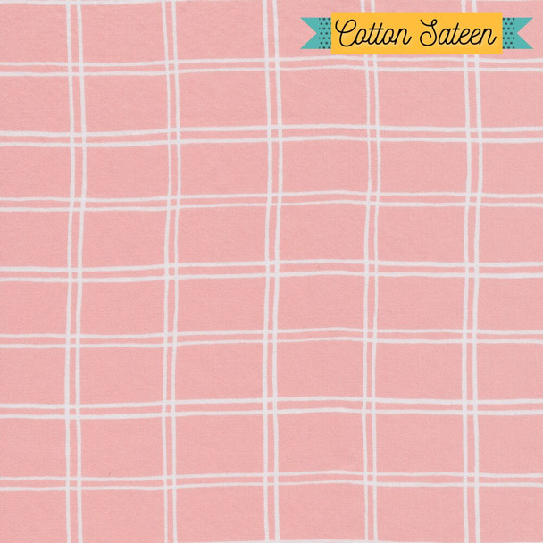 Pink gingham cotton sateen fabrics design