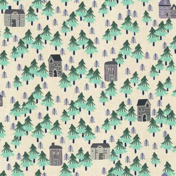Nature Walk- Aqua Unbleached fabrics design