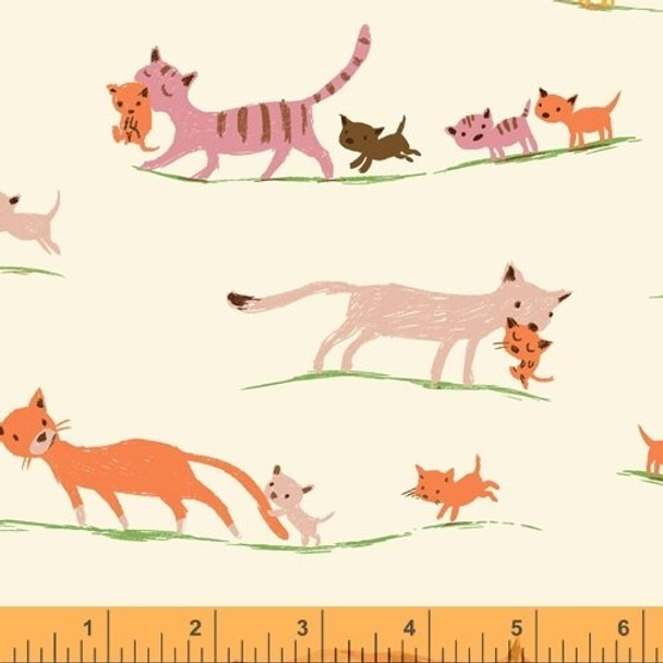 Cream Foxes fabrics design