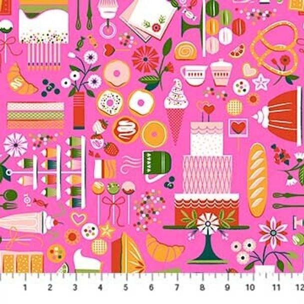 Pink food sweets fabrics design