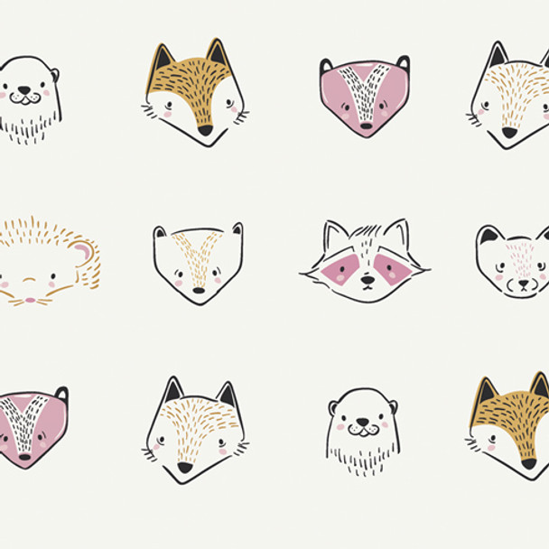 Woodland Animals fabric, Art Gallery Pine Lullaby Furries Sweet cotton, QTR YD