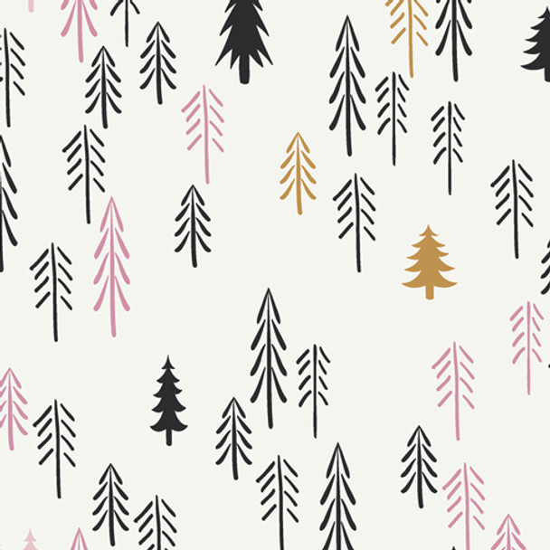 Loblolly Wood Tree fabric, Art Gallery Pine Lullaby Wood cotton fabric, QTR YD