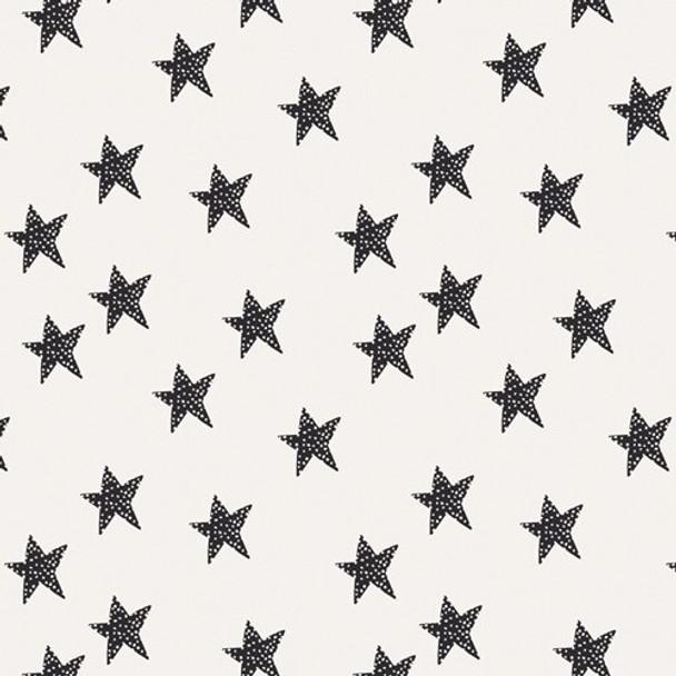 Black white stars Glow cotton fabrics design