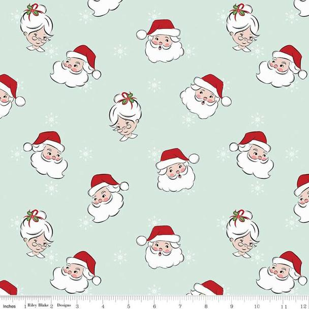 Mint Santa Claus Christmas Fabrics design