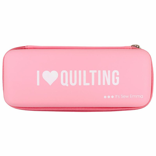 Pink rotary cutter storage travel case I Love Quilting