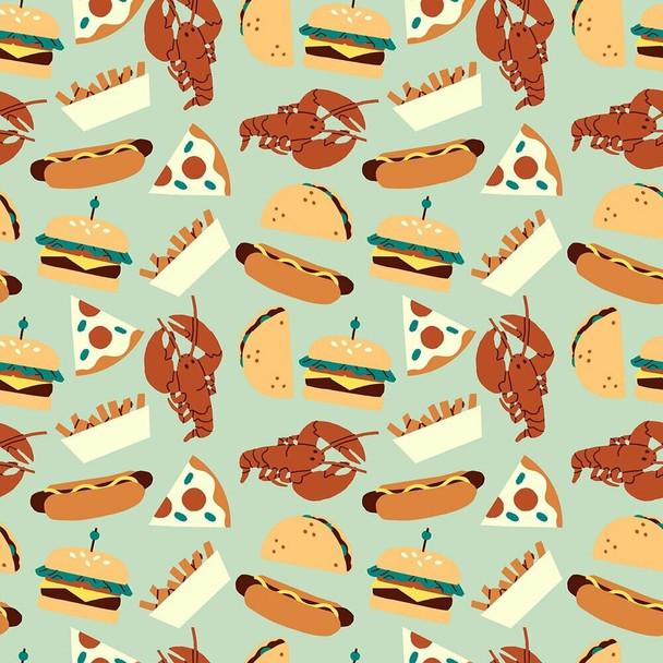Blue Food Truck food Fabrics design