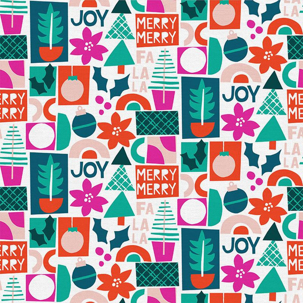 Merry Joy Cherry Christmas - Paintbrush Studio Handmade Holiday cotton - 1/4 Yd
