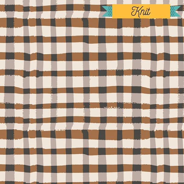 Brown black plaid KNIT fabrics design