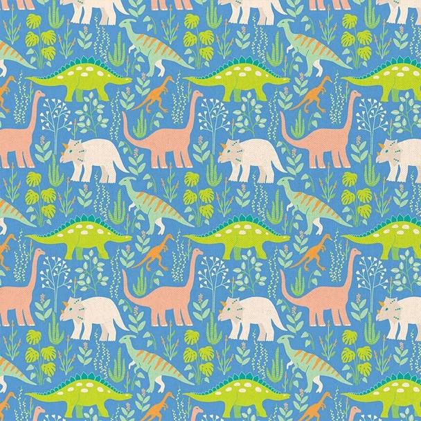 Blue Dinosaur Paintbrush Studio cotton fabrics design
