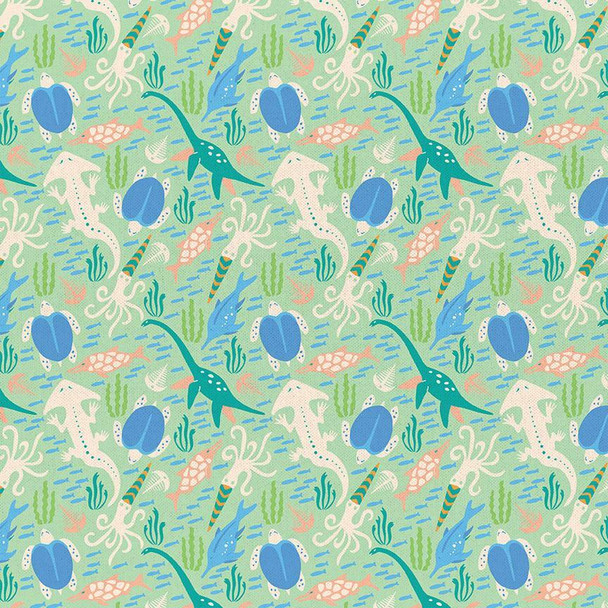 Mint Dinosaur cotton fabrics design