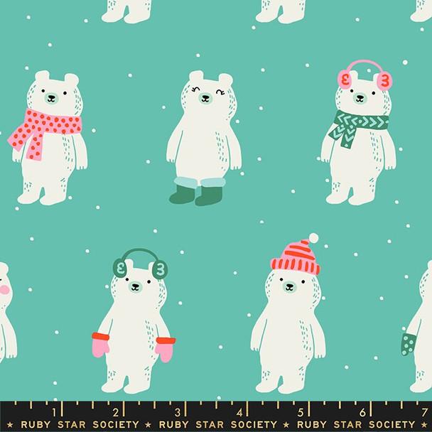 Aqua Snow Bears Fabrics design