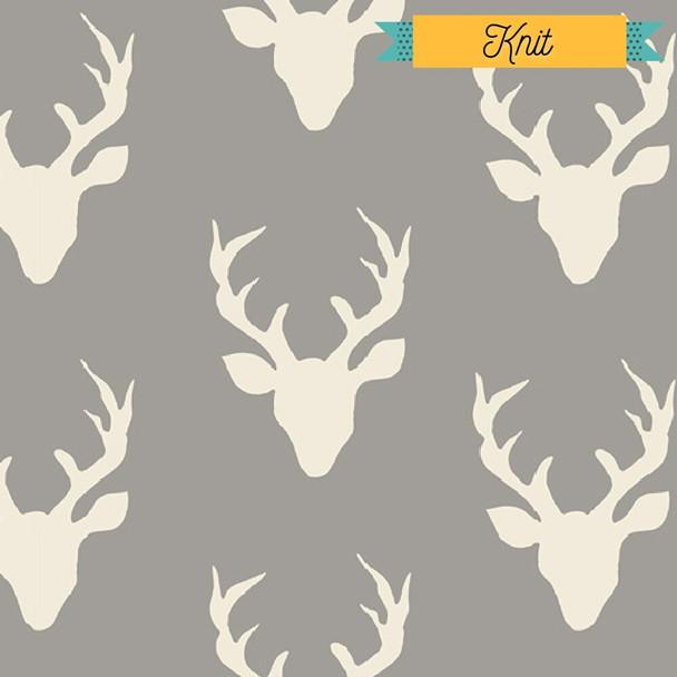 Deer silhouette KNIT Buck Forest Mist fabrics design