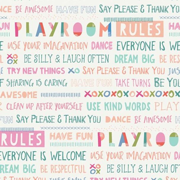 Kids Playroom Rules cotton fabrics design