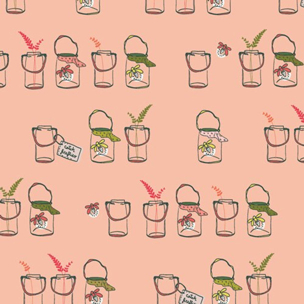 Pink Mason Jars o Bugs cotton fabrics design