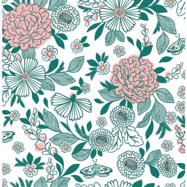 Summer Basket Green Fabric It's Cool to Be Kind Cotton Fabric, QTR YD