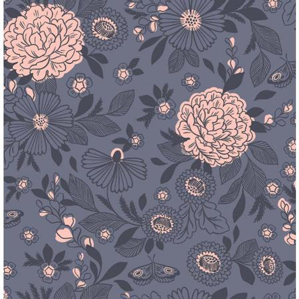 Slate Floral Fabric It's Cool to Be Kind Cotton Fabric, QTR YD
