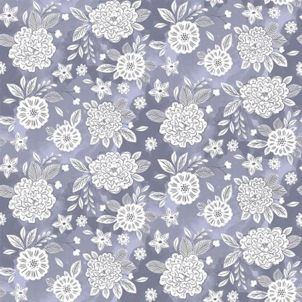 Stardust Blue Floral Fabric, Flower Dream Cotton Fabric, QTR YD