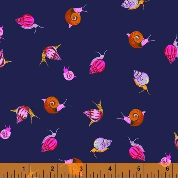Navy snails Fabrics design