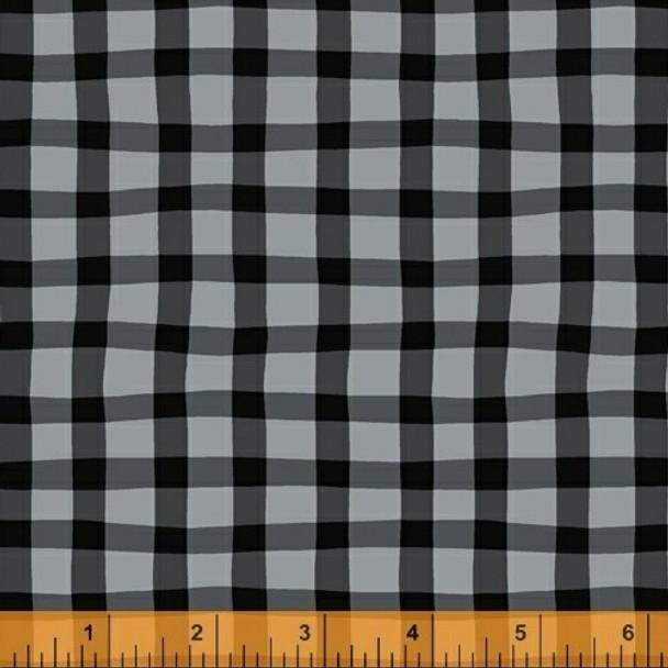 Black gray gingham plaid fabrics design