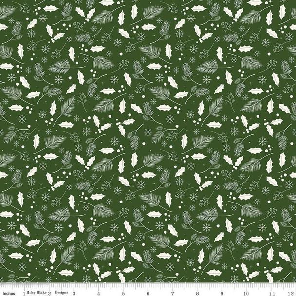 Green holly leaves Fabrics design