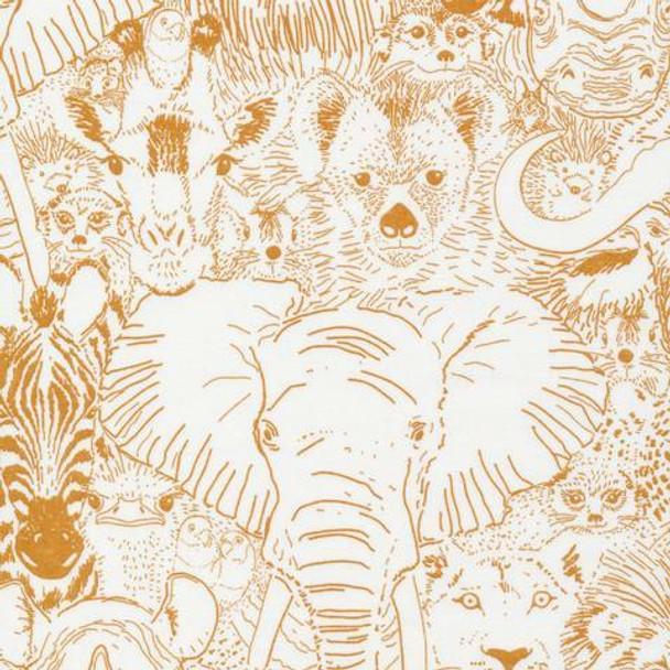 Gold wild animals organic cotton fabrics design
