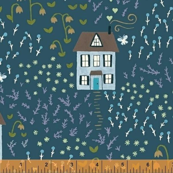 Teal bungalow house fabrics design