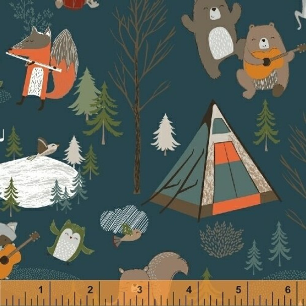 Navy Forest animals Bear Camp fabrics design