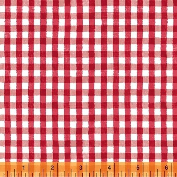 Red gingham plaid cotton fabrics design