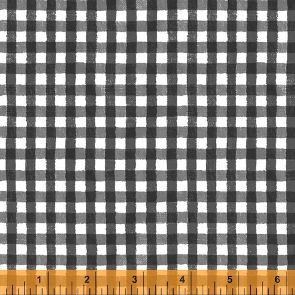 Black gingham plaid fabric, State Fair Windham Fabrics cotton, QTR YD