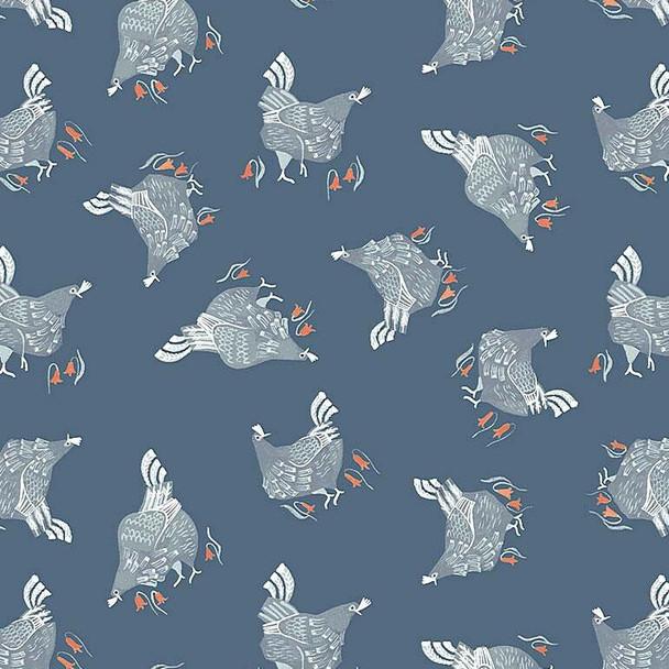 Chickens teal cotton Fabrics design