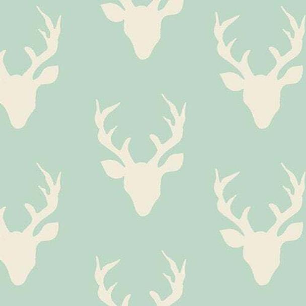 Deer Silhouette Buck Forest Mint fabrics design