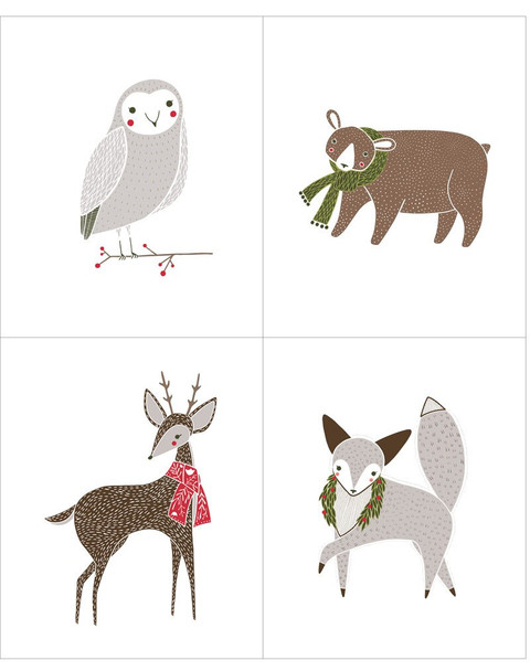 Christmas animals panel Fabrics design