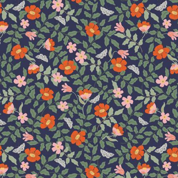 Strawberry Fields Navy Primrose cotton fabrics design