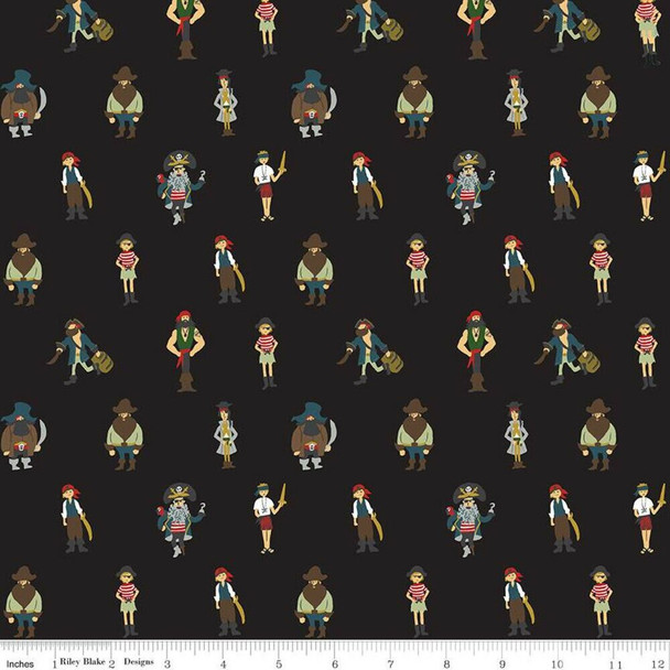 Pirates Black cotton fabrics design