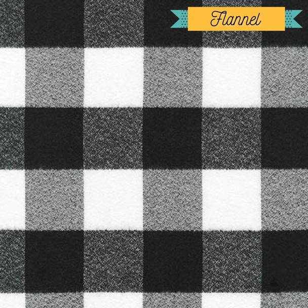 Black white buffalo plaid FLANNEL fabrics design