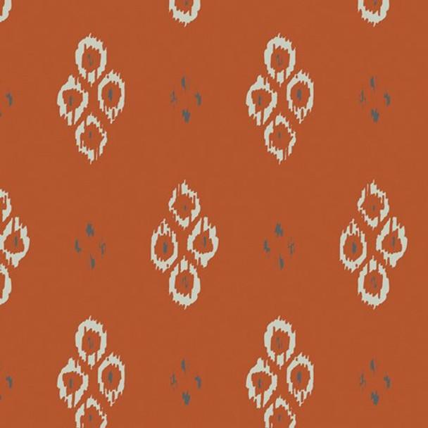 Rust orange Ikat Diamond Rustic fabrics design
